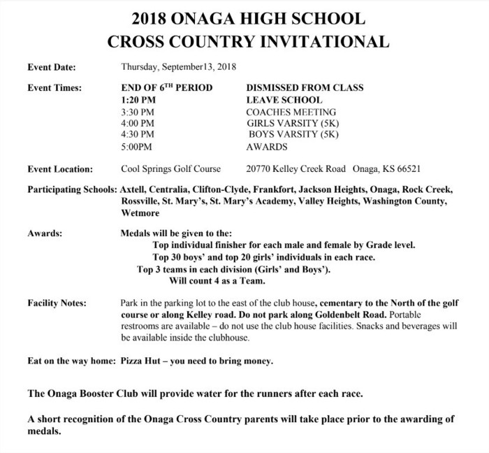 Cross Country at Onaga schedule