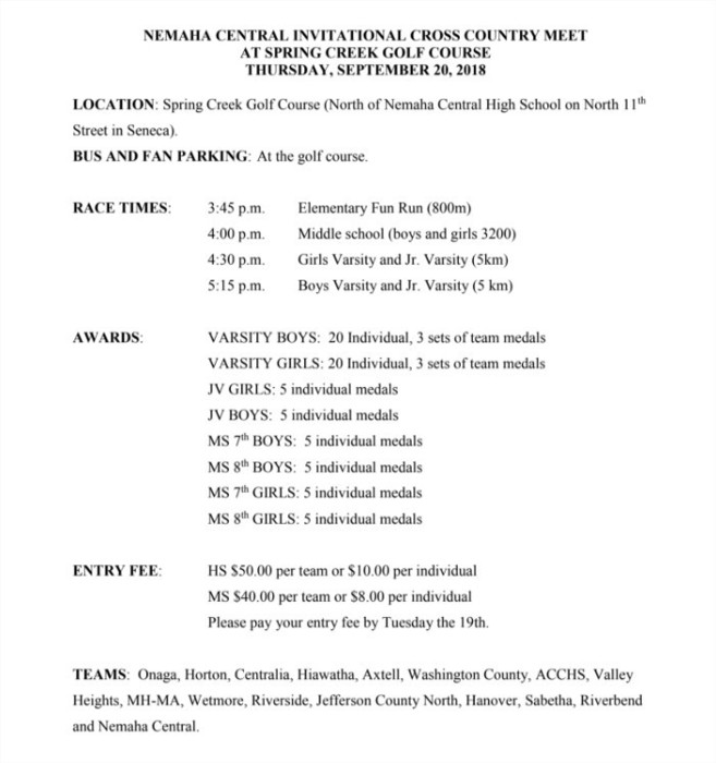 Cross Country info for 9/20 meet