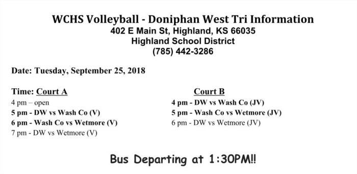 High School Volleyball Schedule