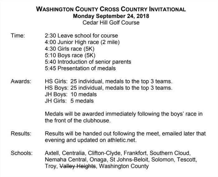 Cross Country Schedule Monday 9/24