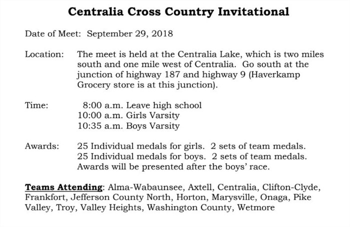Cross Country Schedule 9/29
