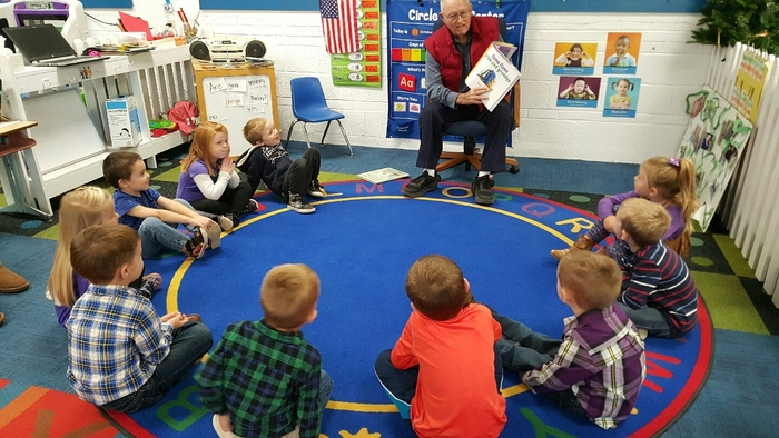 Jim Smart read Llama Llama Grandma and Grandma to the AM class!
