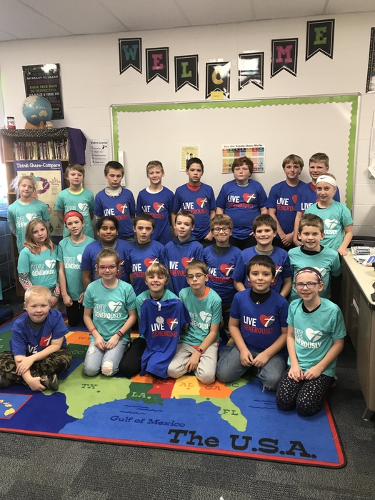 4th graders wearing our shirts from Thrivent Financial.