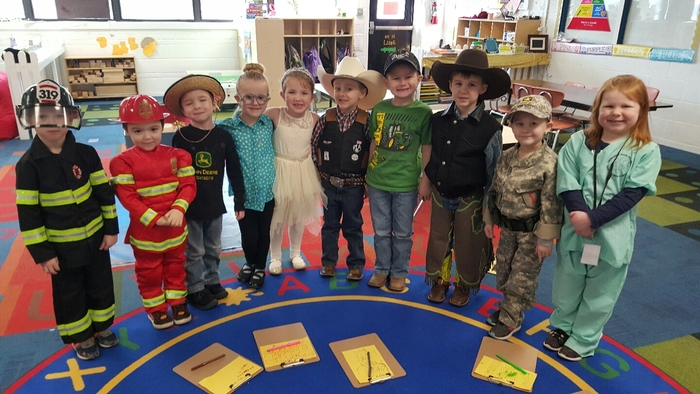 AM Pre-K dressed as what they want to be when they grow up