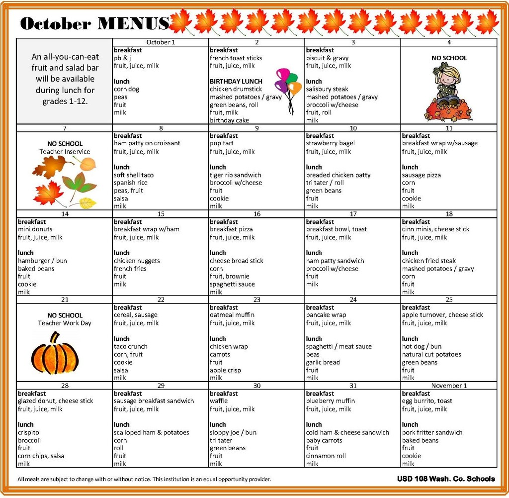 October Menus