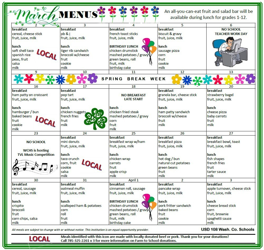 March Menus
