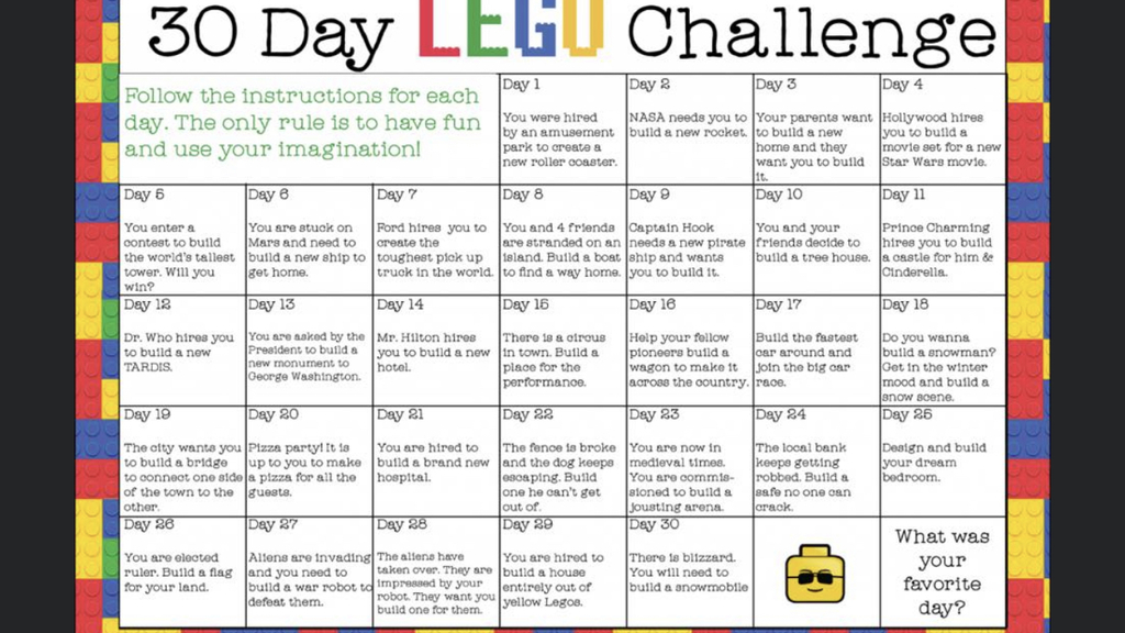 Here's a Lego Challenge for anyone interested!